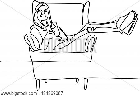 Happy Woman With Remote Control Resting In Armchair At Leisure Time. Smiling Relaxed Person Enjoying