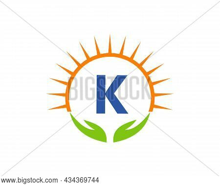 Charity Logo With Hand, Sun And K Letter Concept. Letter K Charity Logo Template Donation Organizati