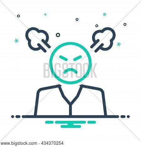 Mix Icon For Angry Smoke Ireful Splenetic Grumpy Indignant Resentful Frenzied Furious Irate Human
