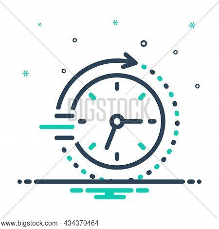 Mix Icon For Soon Time Clock Arriving Quickly Speedily Facilely Hastily In-a-hurry Swiftly Pronto Sh