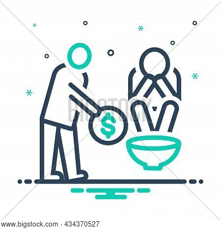 Mix Icon For Poor Indigent Poverty-stricken Penurious Help Penniless Beggarly Hapless Poverty Hunger