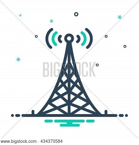 Mix Icon For Tower Antenna Signal Network Transmitter Broadcast Wireless Wifi Cellular Connection Mo