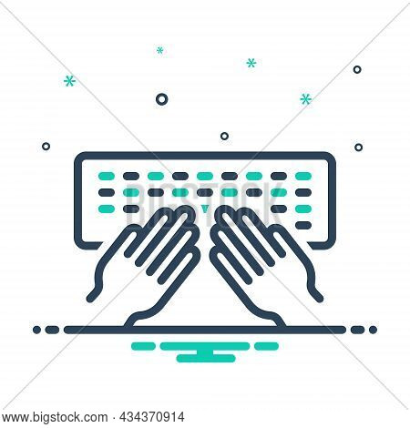 Mix Icon For Type Desktop Electronic Hand Letters Equipment Hand-typing Programming Keyboard Noteboo