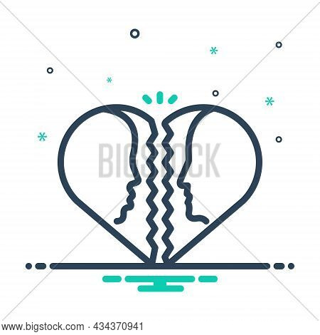 Mix Icon For Divorce Attorney Family Judge Justice Breakup Separation Divorcement Heart Emotional Le