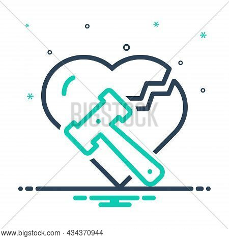 Mix Icon For Divorce Breakup Separation Hammer Justice Divorcement Heart Annulment Emotional Legal