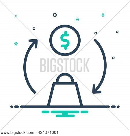 Mix Icon For Trade Money Swap Exchange Shopping Commerce Buy Consumer Purchasing Bag Marketing