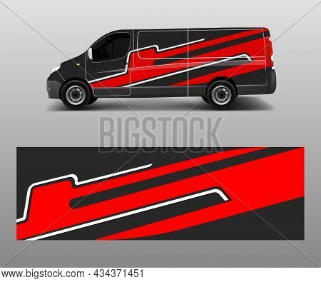 Van Decal Wrap Design Vector For Company Branding . Graphic Wrap Decal And Sticker Template Vector