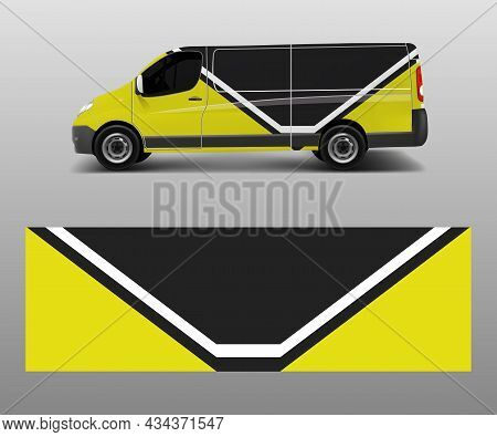 Vehicle Decal Wrap Design Cargo Van Vector. Graphic Abstract Wave Background Designs For Advertiseme