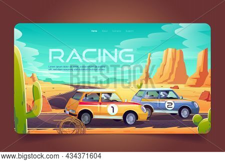 Racing In Desert Cartoon Landing Page, Race Cars Tournament, Auto Rally Competition, Drivers In Auto