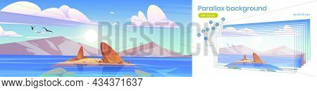Parallax Background Ocean Or Sea Nature 2d Landscape With Shallow Or Land With Rocks Under Fluffy Cl