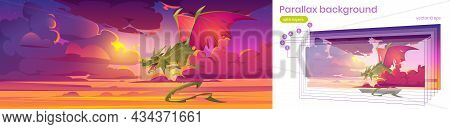 Parallax Background For Game, With Dragon In Sky, Fantastic Character 2d Layered Animation, Magic Cr