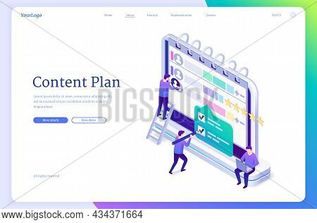 Content Plan Isometric Landing Page. Work Organization In Social Media, Publication Management Conce