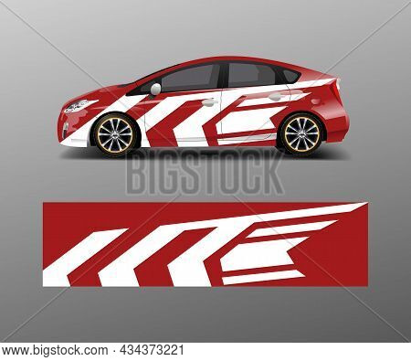 Car Wrap Decal Design Vector. Graphic Abstract Racing Designs For Vehicle, Rally, Race, Adventure Te