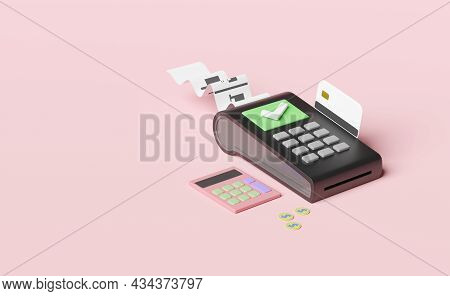Payment Machine Or Pos Terminal, Electronic Bill Payment And Credit Card With Invoice Or Paper Check