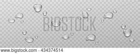 Big Set Of Transparent Drops Of Water. Pure Clear Water Drops. Isolated On Transparent Background. R