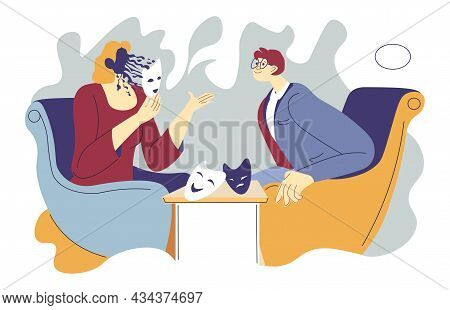 Fake Talk, Person Lying And Wearing Masks Vector
