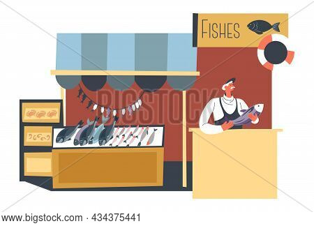 Fish Shop With Fresh Products, Stall Or Store