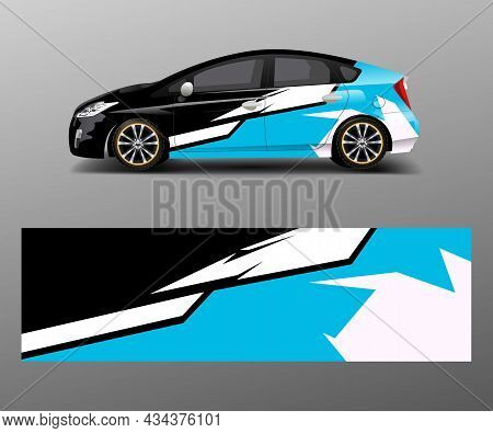 Company Branding Car Decal Wrap Design Vector. Graphic Abstract Shapes Designs Company Car