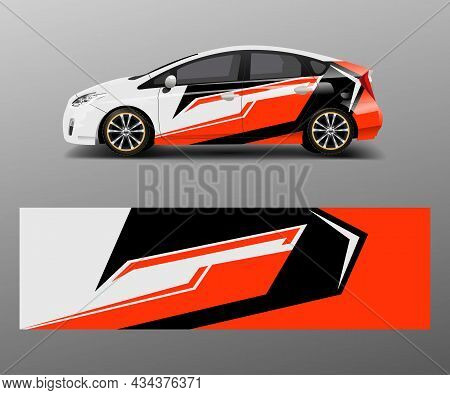 Racing Car Wrap With Abstract Stripe Shapes For Company. Sport Car Racing Wrap Vector Design Templat