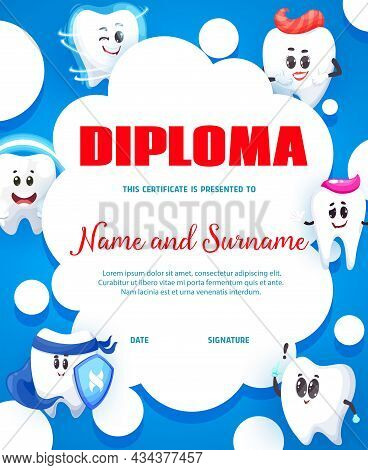 Cartoon Happy Tooth Characters, Dental Care Service Kids Vertical Diploma. Dentist Or Dental Clinic