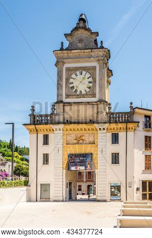 Salo, Italy - June 28,2021 - View At The Clock Tower In Salo. Salo Is A Town And Comune In The Provi