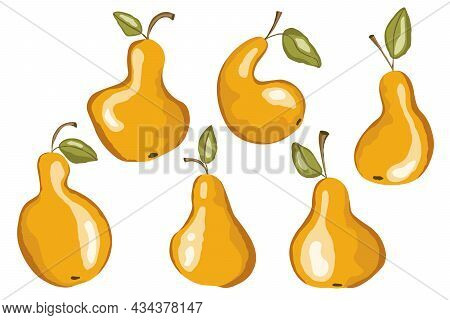 Pear Icon Set Isolated On White Background. Natural Delicious Fresh Ripe Tasty Fruit. Template Vecto
