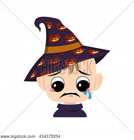 Avatar Of Child With Big Eyes And Depressive Emotion, Crying, Tears Face In A Pointed Witch Hat With