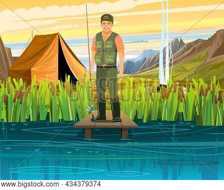 Fisherman Fishing. Camping On The Banks Of A Fast Mountain River. Tent And Bonfire. Summer Landscape