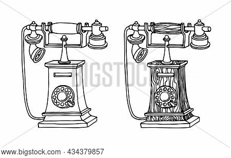 An Old Wooden Telephone With A Dial, A Museum Exhibit, Home Electrical Equipment, A Vector Illustrat