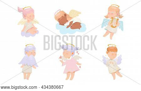 Baby Angels Set. Adorable Lovely Cupidons With Nimbus And Wings Cartoon Vector Illustration