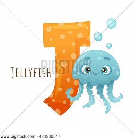 J Letter And Cute Jellyfish Sea Creature. Zoo Alphabet For Children Education, Home Or Kindergarten