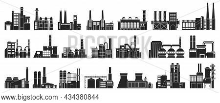 Industry Factory Isolated Black Set Icon. Vector Black Set Icon Manufacturing Of Building. Vector Il