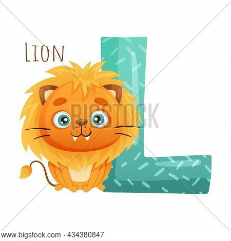 L Letter And Cute Lion Baby Animal. Zoo Alphabet For Children Education, Home Or Kindergarten Decor