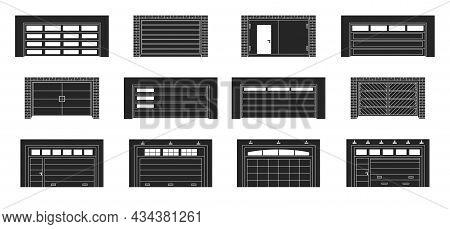 Garage Door Vector Black Set Icon.vector Illustration Roller Gate On White Background . Isolated Bla
