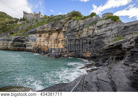 View On Byron Grotto In The Bay Of Poets, Turquoise Color Of The Sea, Portovenere, Italian Riviera,