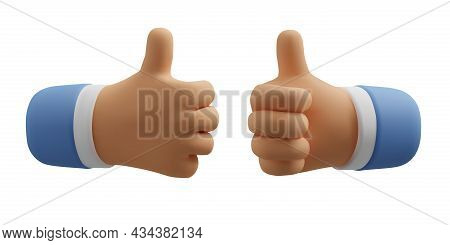3d Icon Like Hand Gesture. Thumb Up Vector Cartoon Arm. Realistic Illustration For Social Media