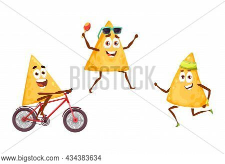 Mexican Nachos Chips On Sports And Leisure Fiesta, Vector Cartoon Food Characters. Nachos Chips With