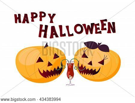 Pumpkins Laugh Ominously And Drink Bloody Cocktail