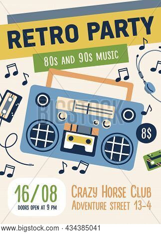 80s And 90s Retro Music Party Flyer Design. Poster Template For Nostalgia Event In 1980s And 1990s S