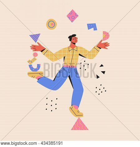 Multitasking Concept. Man Balances On A Triangle And Juggle Abstract Shapes. Modern Vector Cartoon F
