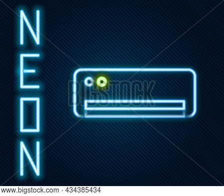 Glowing Neon Line Air Conditioner Icon Isolated On Black Background. Split System Air Conditioning.