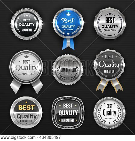 Silver Seal, Medal, Award, Badge And Labels, Best Quality Guarantee Mark. Vector Round Awards With R