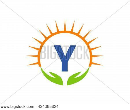 Charity Logo With Hand, Sun And Y Letter Concept. Letter Y Charity Logo Template Donation Organizati