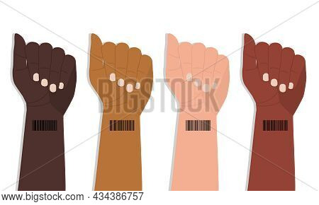 Barcode On The Wrist Of Human Hands. Hands With Different Skin Colors Are Raised Up In Protest. Inte