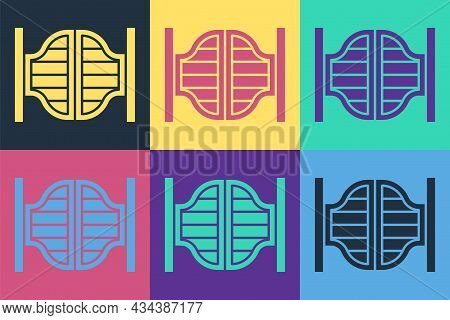Pop Art Old Western Swinging Saloon Door Icon Isolated On Color Background. Vector