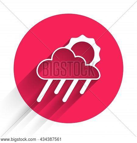 White Cloud With Rain And Sun Icon Isolated With Long Shadow. Rain Cloud Precipitation With Rain Dro