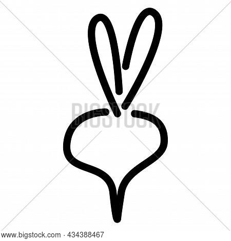 Vector Design Of Radish Logo. Web Element Of Radish Simple Flat Vector Icon Outline One Stroke Style