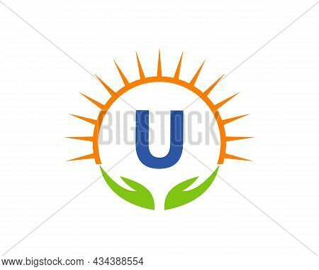 Charity Logo With Hand, Sun And U Letter Concept. Letter U Charity Logo Template Donation Organizati