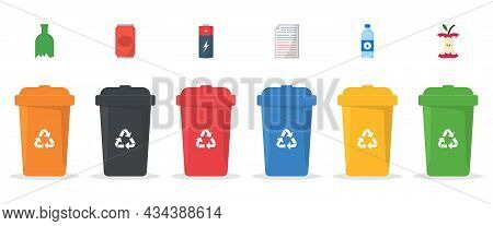 Set Of Plastic Bins For Trash Separation On White Background. Dustbin Containers Collection For Segr