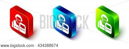 Isometric Police Officer Icon Isolated On White Background. Red, Blue And Green Square Button. Vecto